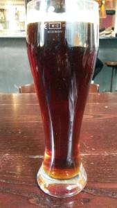A pint of 7.9% Belgian beer from Belgos restaurant