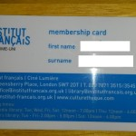 Happy i got my Institut Francais membership card!