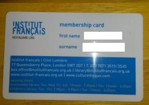 Happy i got my Institut Francais membership card!